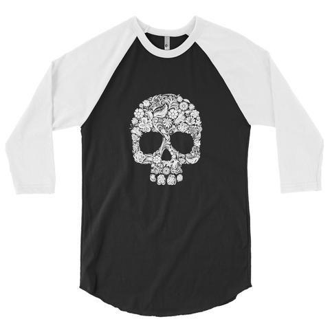 3/4 Ladies Floral Skull Raglan Shirt
