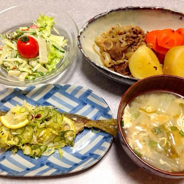 鯵の南蛮漬け、 肉じゃが、 ヤーコンのサラダ、 味噌汁 です。 - 20件のもぐもぐ - 鯵の南蛮漬けの晩ご飯 by orieueki