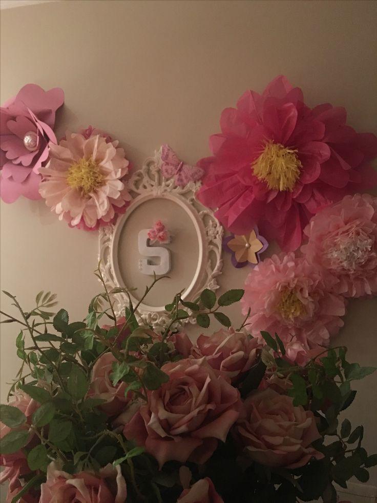 Paper flowers Sandra's birthday decoration