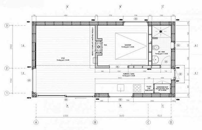 """Plano de cabaña prefabricada de 35m2 """"Woody 35"""""""