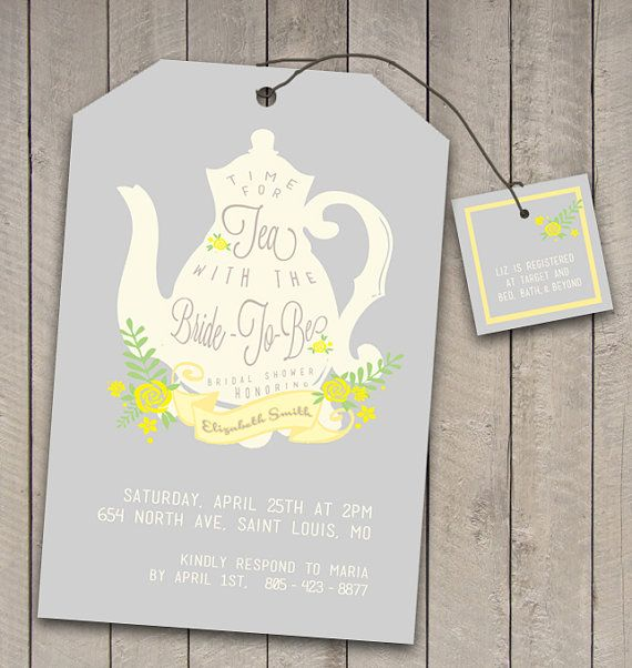 DIY Printable Vintage Tea Party Bridal Shower Invitation and Registry card -wedding teabag teapot design - Tea with the Bride to be