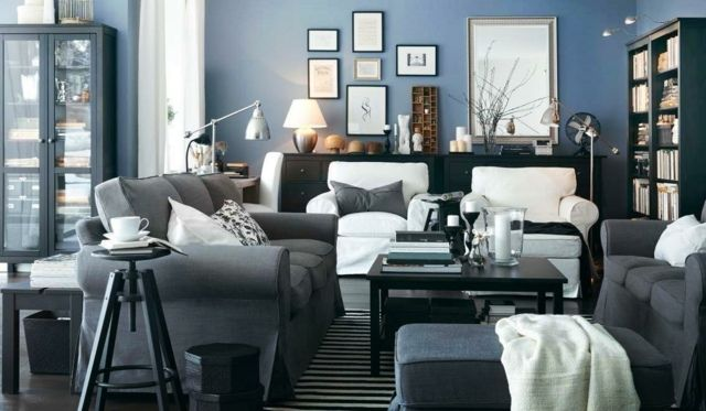 Wohnzimmer einrichten Ideen blaue Farbe Wand Gestaltung