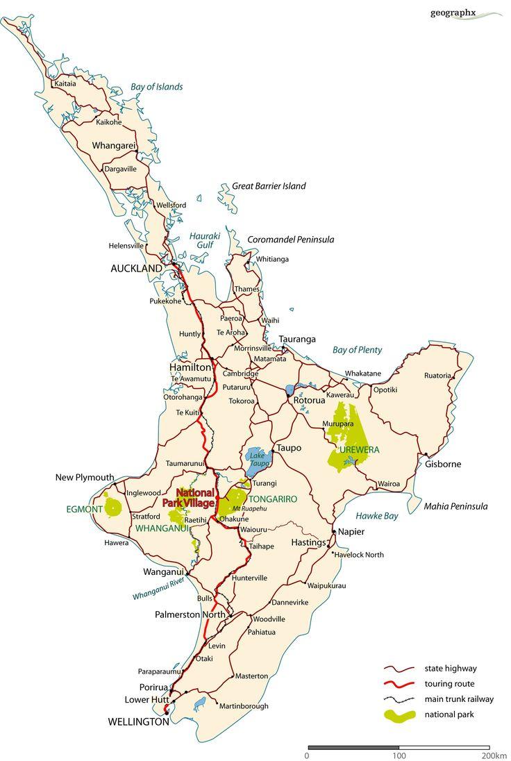 North Island Road Map - North Island New Zealand • mappery