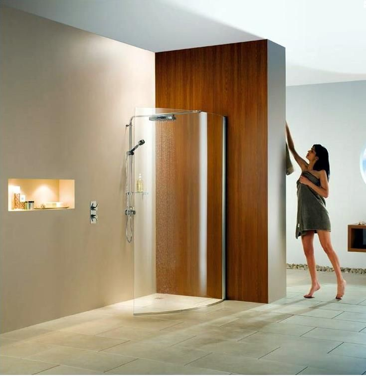 Product image for Matki Wet Room Curved Glass Shower Panel.  Thanks for Pinning :-)  Available from: www.ukbathrooms.com  #bathroom