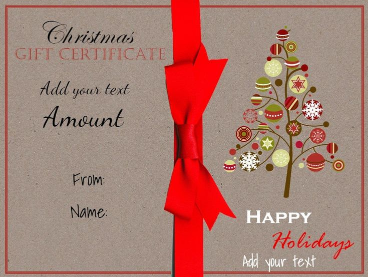 Free printable Christmas Gift Certificate Template which can be customized with your own text before you download or print. Many designs available.
