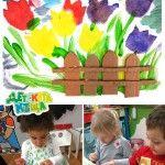 Tulip Garden – Stencil Painting - tulpen - tuin - hekje - schilderen - kinderen - knutselen