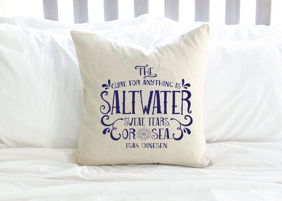 Salt Water Quote By Isak Dinesen Pillow  Black or by AndersAttic