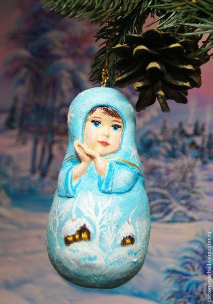 Алёнка Матрёшка, ёлочная игрушка из ваты, ватные игрушки - голубой,матрешка