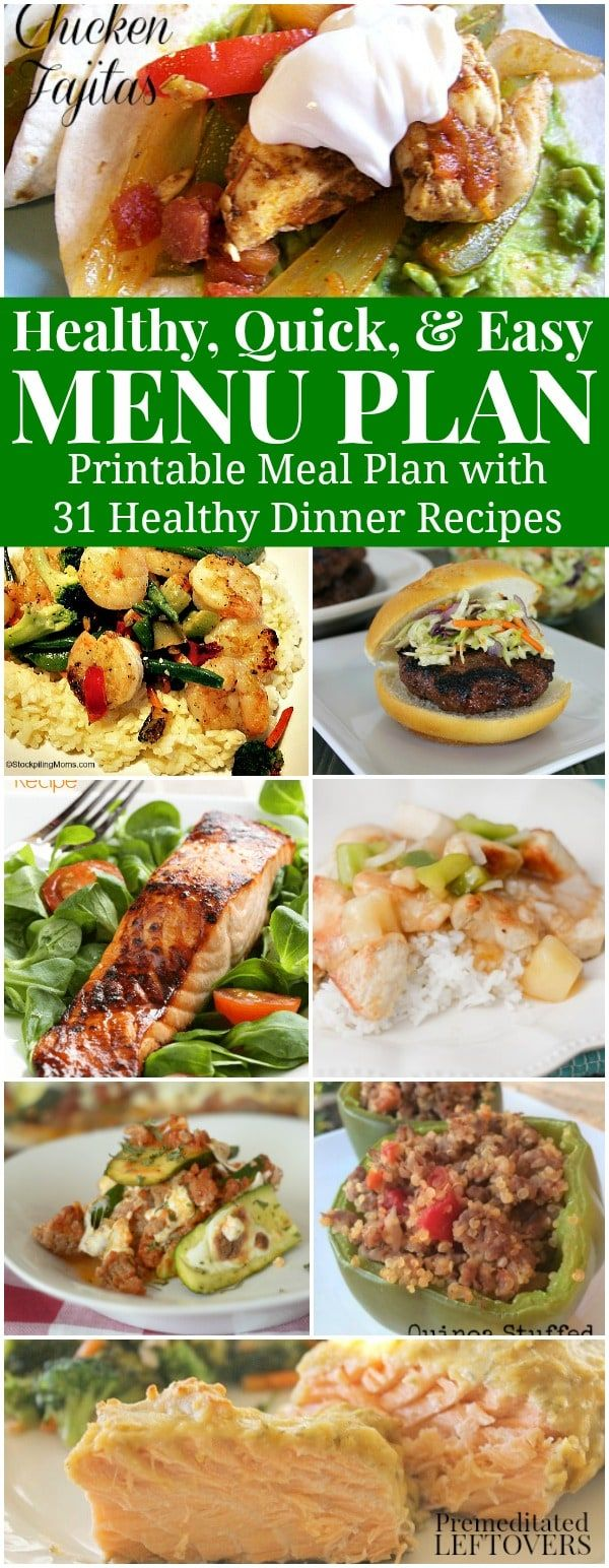 Need some healthy recipe ideas that are simple to make? Check out this Healthy, Quick & Easy Meal Plan. It includes 31 healthy dinner recipes & a Printable Family Menu Plan. Includes chicken, seafood, salad recipes, and more!