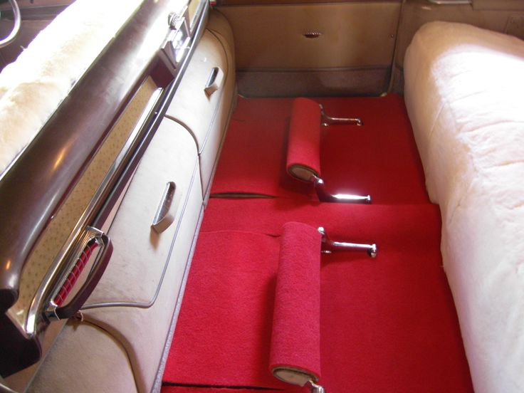 1954 Cadillac Fleetwood Interior. Luxurious Lambswool covered seats & plush red carpet. Seats 8 Passengers #BrisbaneClassicCarHire #WeddingCarsBrisbane www.premier-limos.com.au