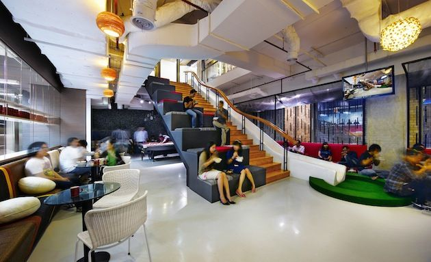Fun-Filled Jakarta Advertising Agency Offices - lunch sitting on the stairs