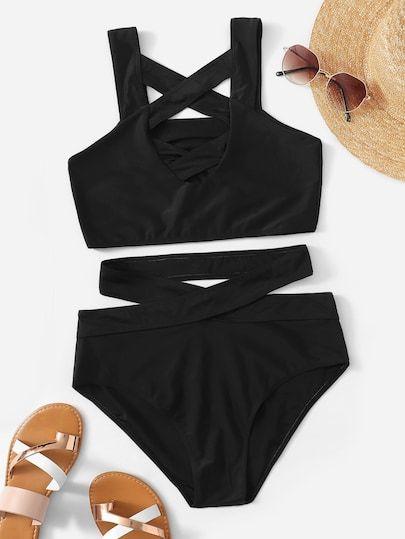 61580fba46251 Shop Criss Cross Top With Cutout Bikini Set online. SheIn offers Criss  Cross Top With Cutout Bikini Set   more to fit your fashionable needs.