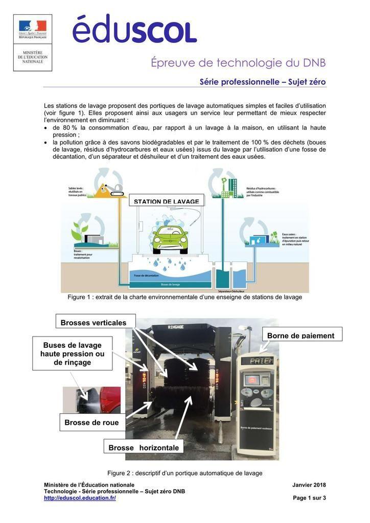Serie Pro Sujet 0 2018 Brevet De Technologie College Rabelais Niort Technologie College Technologie Lavage Automatique