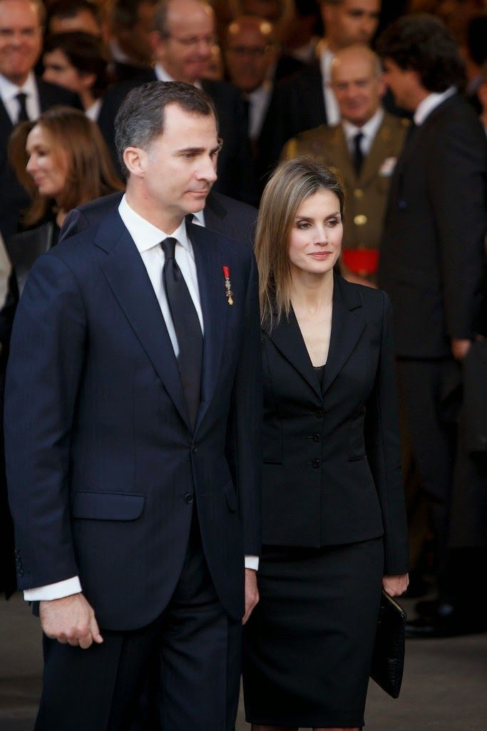 31 March 2014 Spanish Royal Family attended the state funeral ceremony for former Spanish prime minister Adolfo Suarez at the Almudena Cathedral in Madrid