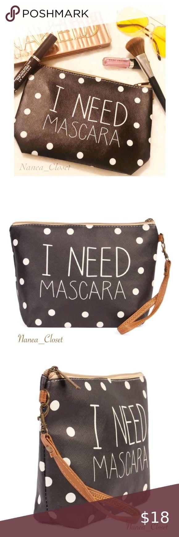 "Cosmetic Bag ""I Need Mascara"" Polka Dot in 2020 Bags"