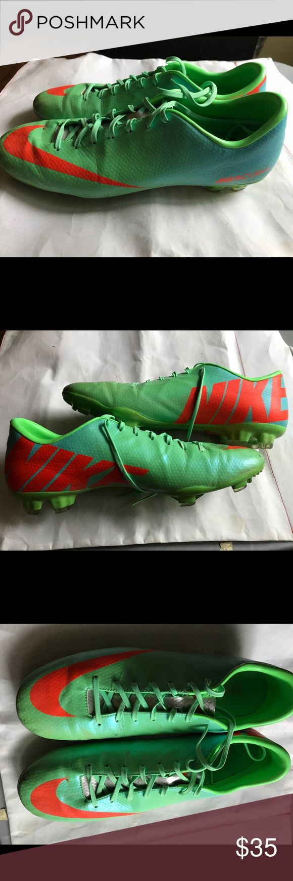 Men's 13 Nike Soccer Cleats Shoes Green with orange. Used but very good condition showing very little use. Size 13, men's. Nike Shoes Athletic Shoes