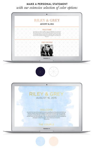 Make a personal statement with your wedding website with Riley & Grey: http://www.stylemepretty.com/2015/02/19/riley-grey-luxury-wedding-websites-a-discount/