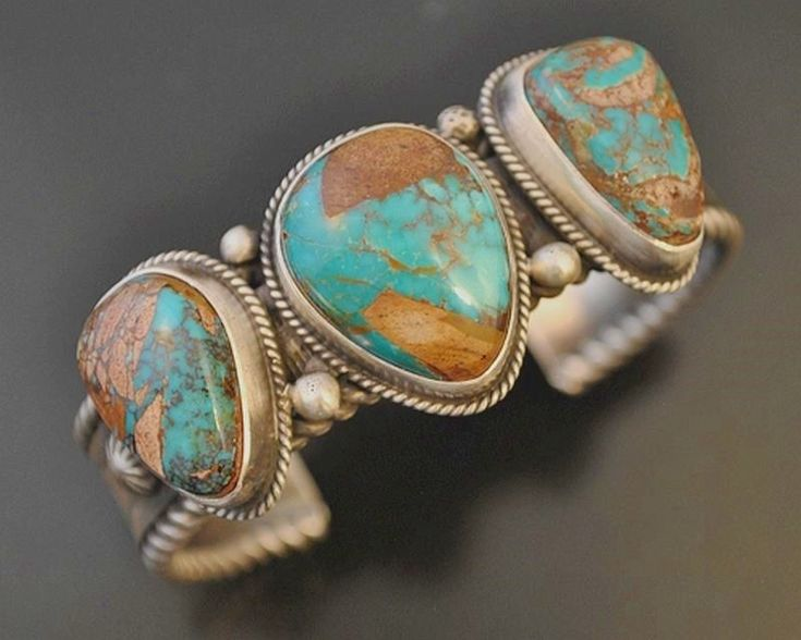 Navajo Natural Pilot Mountain Turquoise 3 Stone Bracelet Sterling Cuff s6.5