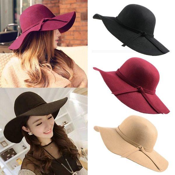 Women/'s Vintage Fashion Wide Brim Floppy Warm Wool Felt Bowler Fedora Hat Cap