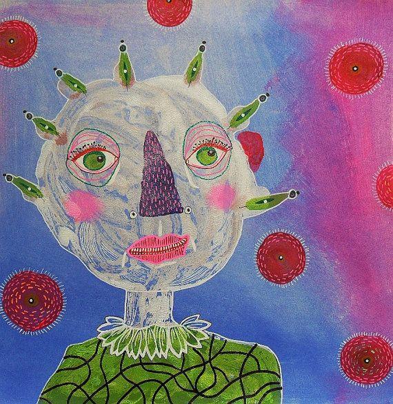 Funky Folk Art  Weird Face  Colorful Folk Art  by ArtBeatriceM, £28.00