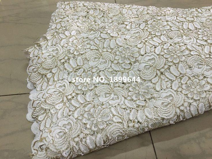 Горячий продавать! Африканские кружева, тюль Горячий новый для белый и золотой гипюр африканский cupion кружевной ткани для Нигерии свадьбы платья. ML680
