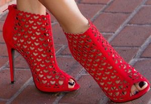 Red Laser Cut Booties