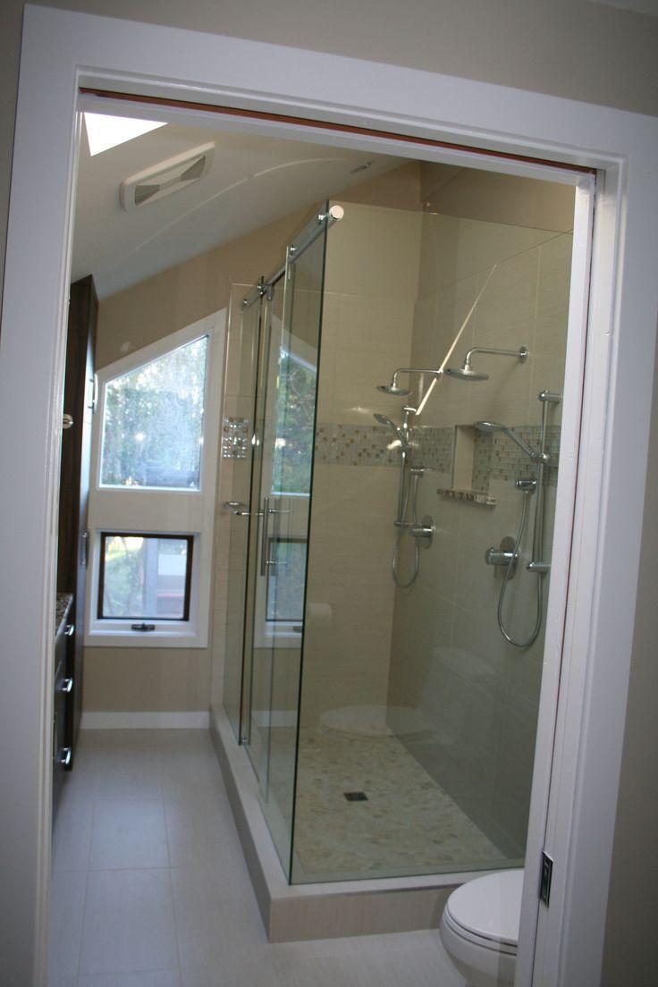 hydroslide shower door with mitered corner