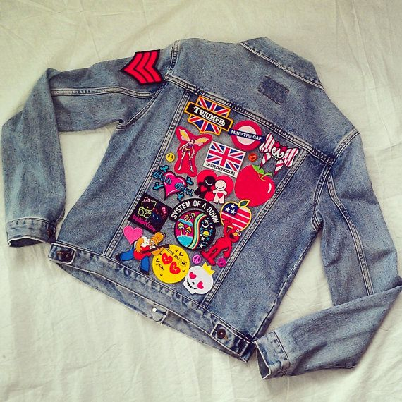 Reworked Vintage Jean Jacket with Patches by KodChaPhorn from Bangkok on Etsy