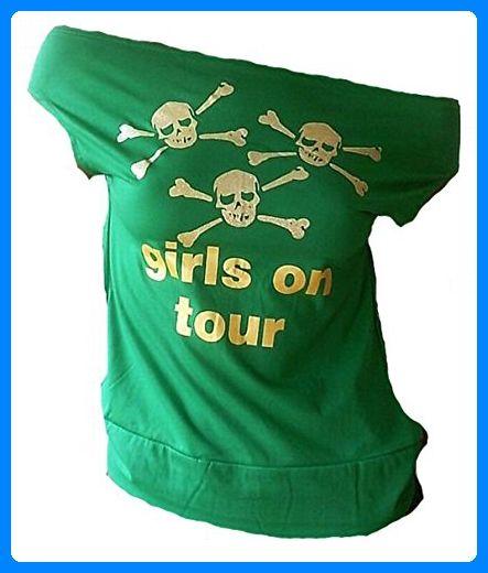 Ticila Damen Designer U-Boot Top Shirt Rockabilly Party Sweet Skull Girls On Tour Silber Glitzer Totenkopf Grün Green S 34/36 - Stiefel für frauen (*Partner-Link)