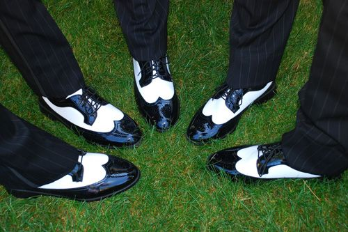 Groomsmen in 1920s style spectator shoes