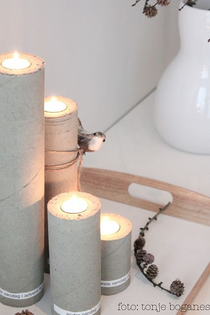 Candles. Use paper towel and toilet paper cores to fill with cement.