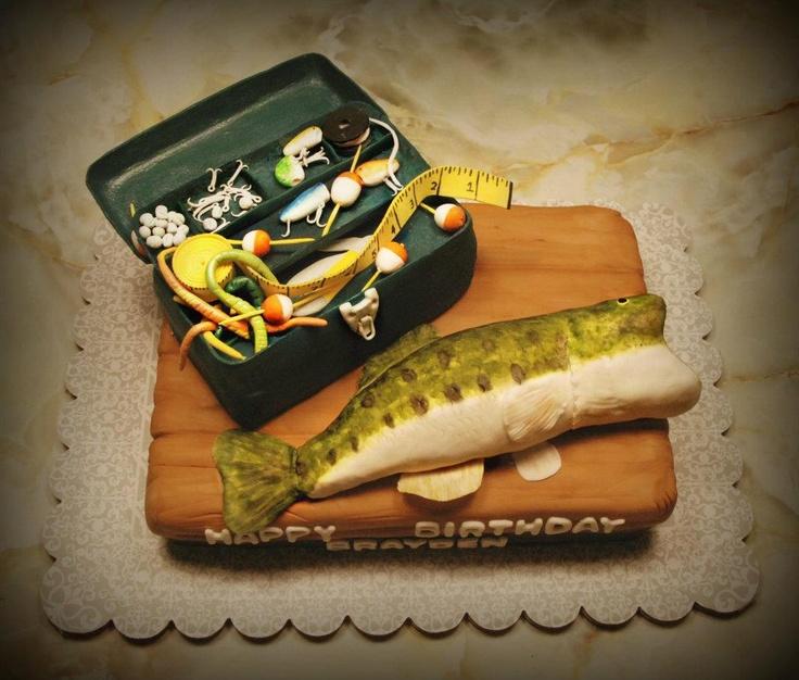 Bass fish and tackle box cake fishing party pinterest for Bass fishing tackle box