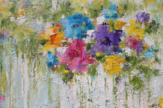 Large Abstract Painting Original Contemporary Colorful por mgotovac