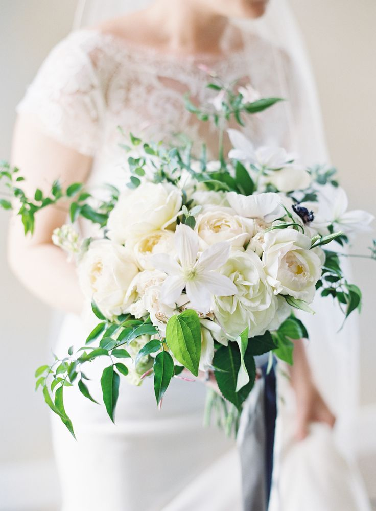 White Wedding #Bouquet: White on White on White with a Touch of #Blush! See more on SMP: http://www.StyleMePretty.com/2016/03/19/bouquet-breakdown-nautical-lake-michigan-wedding/ Clary Pfeiffer Photography | Floral Design : The Day Design