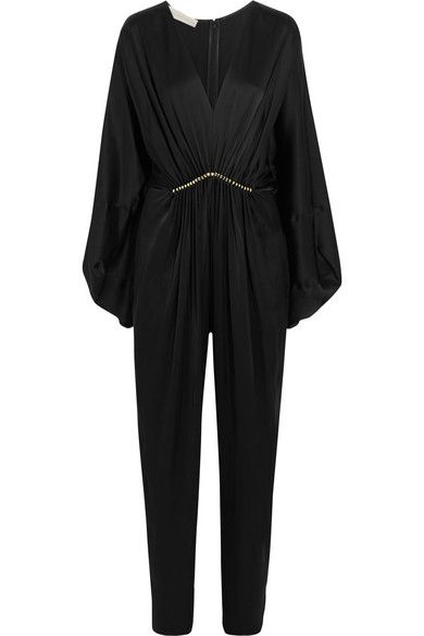 STELLA MCCARTNEY Morgane Aio Embellished Satin Jumpsuit. #stellamccartney #cloth #jumpsuits