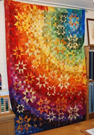 RainbowStars Quilt, Rainbow Quilt, Rainbows Quilt, Wilma Karel, Gorgeous Rainbows, Rainbows Beautiful, Bright Quilt, Rainbows Stars, Bright Colors