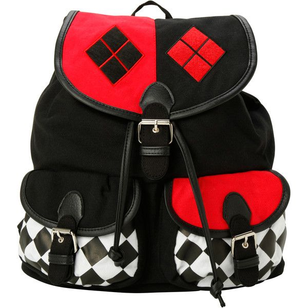 DC Comics Harley Quinn Slouch Backpack | Hot Topic (£15) ❤ liked on Polyvore featuring bags, backpacks, accessories, purses, slouchy backpack, slouchy bags, drawstring backpack, slouch bag and slouch backpack
