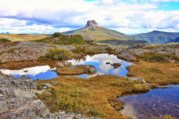 The Overland Track Tasmania. First view of Barns Bluff.