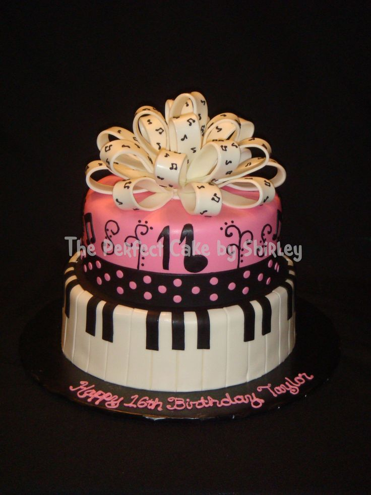 Sweet 16 Cake Hand Painted Music Notes Birthday Cakes
