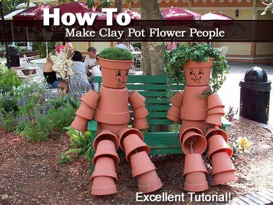 How to make clay pot flower people garden projects for How to make clay pot people
