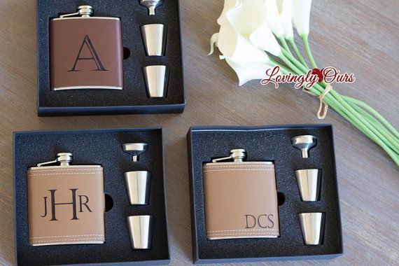Personalized Groomsmen Flask as Groomsmen Gifts Leather Hip Flask Gift Set  -  Engraved with Name, Monogram or Initials Wedding Party Gift