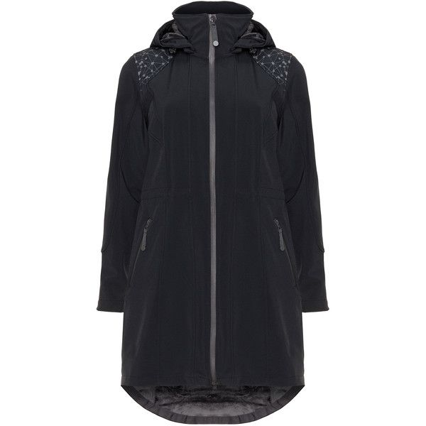 Zizzi Black Plus Size Water resistant soft shell rain coat ($140) ❤ liked on Polyvore featuring outerwear, coats, black, plus size, plus size raincoat, black hooded coat, womens plus coats, lightweight rain coat and rain coat