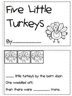 5 little Turkeys Emergent Reader with pocket chart cards, Feather Counting Worksheet, Turkeys Can, Have, Are organizer (PreK-1st)