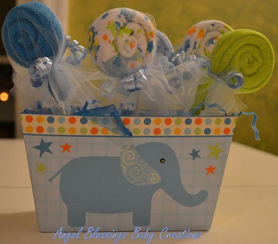 Baby Boy Washcloth Lollipops--Its a Boy Baby Shower Centerpiece