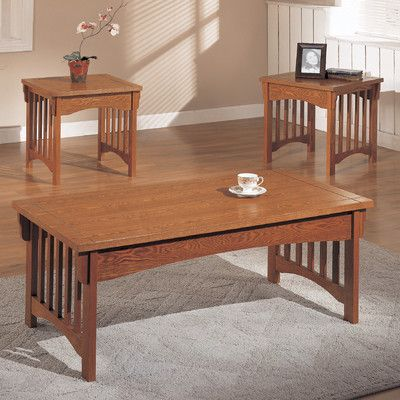 Anthony California OCET53/3PK Mission Style 3 Piece Coffee Table Set