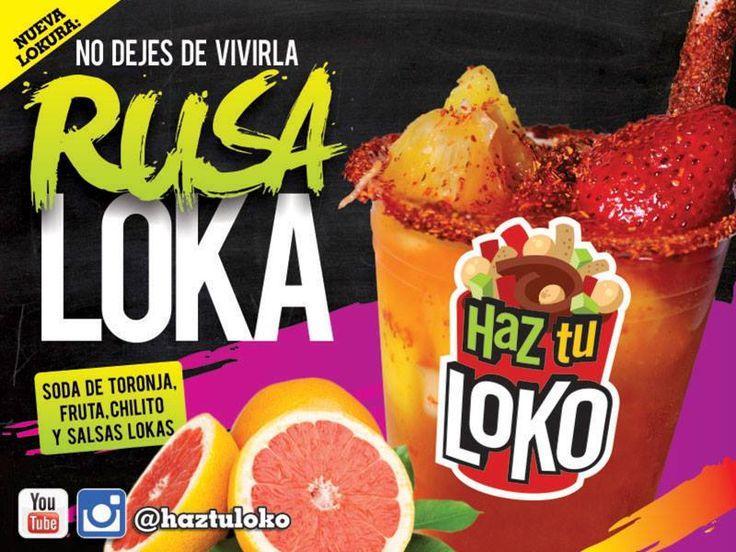 Rusa Loka, refresco de toronja, chamoy, salsa loka, salsa haztuloko,piña,mango,coco,fresa,naranja, chilitos, tamarindo, deliciosa en haz tu loko!