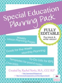 Special Education Planning Pack {Fully Editable}, Lesson Plans, Post-it templates for data collection, year planner, monthly planner, weekly planner, IEP checklists, goal sheet and more!