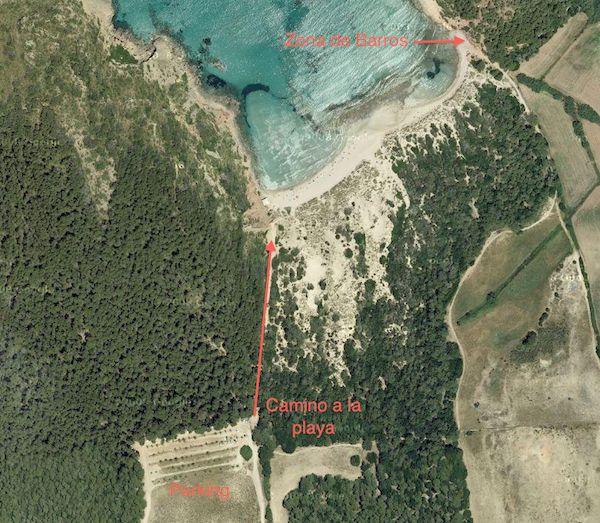 Plano de zona de baños de barro en Playa Algaiarens Menorca