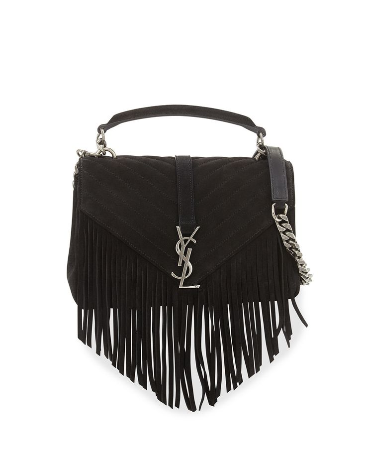 6c99b3853b yves saint laurent women monogram fringed suede shoulder .
