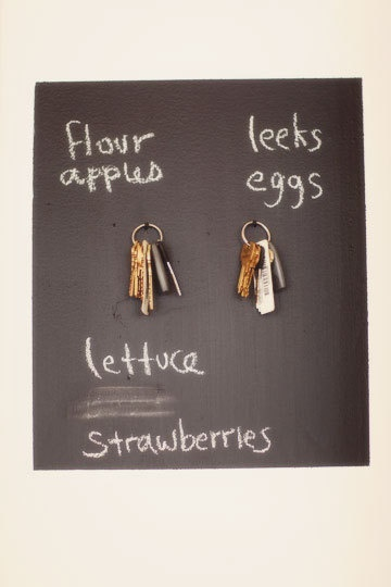 blackboard paint square key ring shopping list!